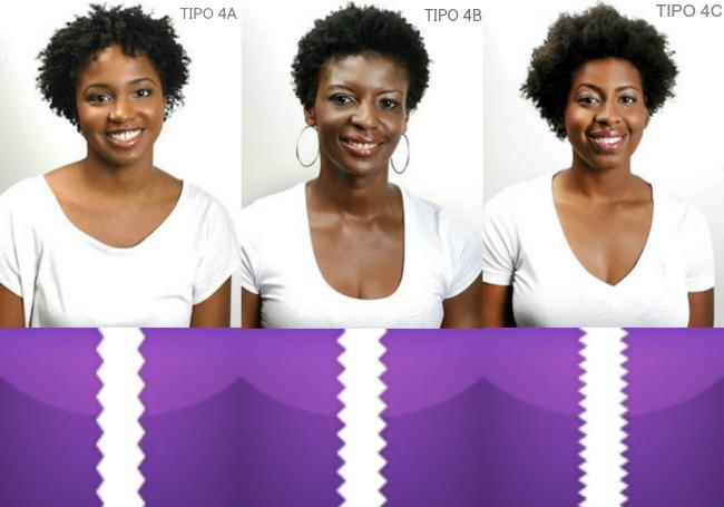 cabelos tipo 4 A, B e C